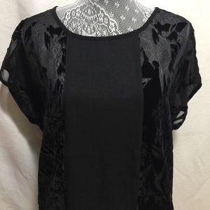 Oversized black contrast semi sheer top small